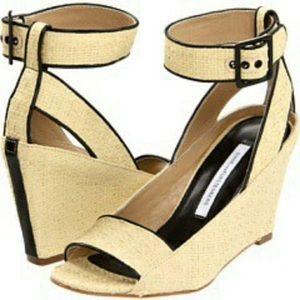 DVF wedge sandals heels raffia Senegal